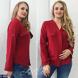 Летняя блуза больших размеров с креп-шифона