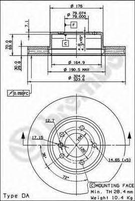 Тормозной диск вентилируемый, фото 2