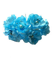 Голубые Яблони Цветы из ткани (тканевые) с бусинками и тычинками D3,5 см Декоративный букетик 6 шт/уп