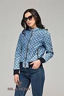 Куртка-бомбер коттон джинс стеганая синяя