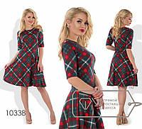 Стильное женское платье (триктаж, клетчатый принт, клеш, короткие рукава) РАЗНЫЕ ЦВЕТА!