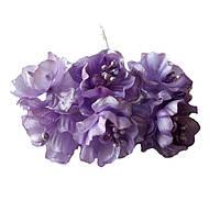 Сиреневые Яблони Цветы из ткани (тканевые) с бусинками и тычинками D3,5 см Декоративный букетик 6 шт/уп
