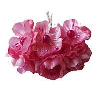 Малиновые Яблони Цветы из ткани (тканевые) с бусинками и тычинками D3,5 см Декоративный букетик 6 шт/уп