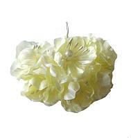 Айвори Яблони Цветы из ткани (тканевые) с бусинками и тычинками D3,5 см Декоративный букетик 6 шт/уп