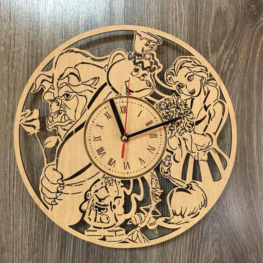 Часы хендмейд из дерева 7Arts Красавица и чудовище CL-0167