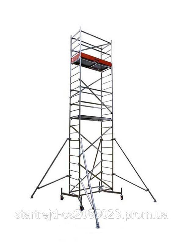 Вышка-тура KRAUSE Clim Tec (базовая секция + 2 надстройки и колеса) строительная передвижная, алюминиевая