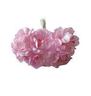 Розовые Яблони Цветы из ткани (тканевые) с бусинками и тычинками D3,5 см Декоративный букетик 6 шт/уп