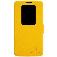 Кожаный чехол книжка Nillkin для LG G2 D802 желтый, фото 1
