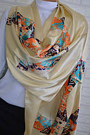 Шелковый шарф палантин Chanel (Шанель) бежевый