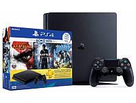 Sony PlayStation 4 Slim 500 Gb Black (HZD+GOW3+UC4+PSPlus 3М) игровая консоль, фото 1