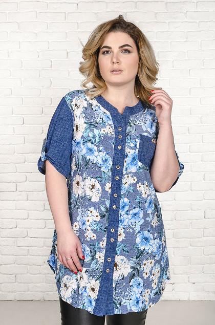Рубашка женская размер плюс Верни голубые цветы (52-66)