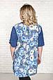 Рубашка женская размер плюс Верни голубые цветы (52-66), фото 4