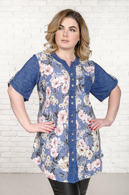 Рубашка женская размер плюс Верни розовые цветы (52-66)