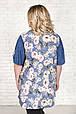 Рубашка женская размер плюс Верни розовые цветы (52-66), фото 4