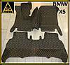 Коврики в салон BMW X5 Кожаные 3D (кузов Е70 / 2006-2013) Чёрные с Жёлтой нитью
