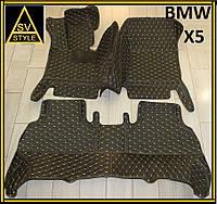 Коврики в салон BMW X5 Кожаные 3D (кузов Е70 / 2006-2013) Чёрные с Жёлтой нитью, фото 1