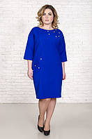 Красивое платье размер плюс Шершель электрик(50-56)