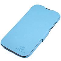 Кожаный чехол книжка Nillkin для Huawei G610 голубой, фото 1