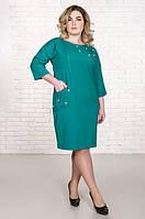 Красивое платье размер плюс Шершель изумруд (50-56)