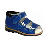 Ортопедические сандалии синие из натуральной кожи с жестким задником на подошве с каблуком Томаса
