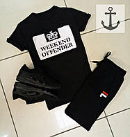 Летний спортивный костюм, комплект Weekend offender и Fila (черный), Реплика