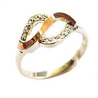 Кольцо из серебра с золотыми вставками, модель 128