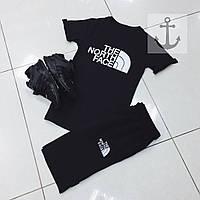 Летний спортивный костюм, комплект The North Face (черный), Реплика