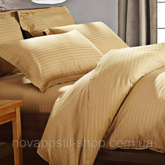 Постельное белье страйп-сатин Gold (золотой)