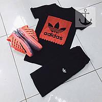 Летний спортивный костюм, комплект Adidas (черный)