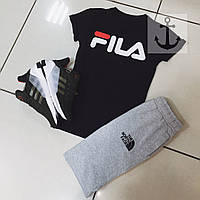 Летний спортивный костюм, комплект Fila and The North Face (черный+серый), Реплика