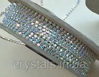 Стразовая цепь Preciosa (Чехия) ss6.5 Crystal AB/серебро