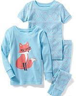 Детская трикотажная пижама с принтом Олд Неви для девочки