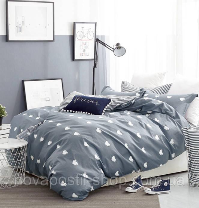 Grey Hearts, постельное белье из сатина