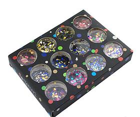 Набор конфетти 12 шт для дизайна ногтей