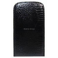 Чехол-флип для Lenovo S920 черный глянцевый чешуя