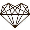 Чипборд Геометрическое сердце, 70х60 мм