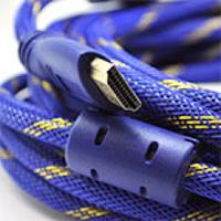 Кабель HDMI-HDMI 5.0m, v1.4, OD-8.0mm, 2 фильтра, оплетка, круглый Blue/Gold, коннектор Blue, (Пакет)