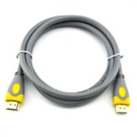 Кабель HDMI-HDMI V-Link High Speed 3.0m, v2,0, OD-8.2mm, круглый Grey, коннектор Grey/Yellow, (Пакет)