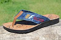 Ветнамки, шлепанци, сланцы мужские прочная джинсовая ткань легкие Турция (Код: Ш760а)
