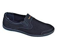 Мокасины кроссовки летние сетка мужские черные (Код: Т1035)
