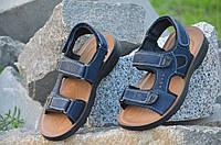 Босоножки, сандали на липучках мужские удобные темно синие искусственная кожа (Код: Т677)