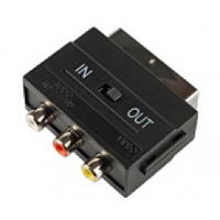 Переходник SCART (папа)-3 RCA (мама)+Svideo Black c переключателем