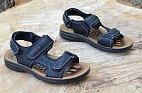 Босоножки, сандали на липучках мужские модные черные искусственная кожа (Код: Б685)