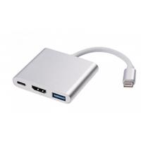 Конвертер Type-C (папа) на HDMI (мама)+USB 3.0(мама)+Type-C(мама) 10cm, Silver, 4K/2K, Пакет
