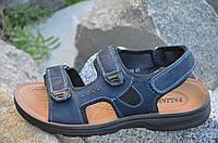Босоножки, сандали на липучках мужские удобные темно синие искусственная кожа (Код: Б677а)