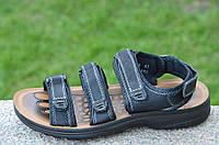 Босоножки, сандали на липучках мужские стильные черные искусственная кожа (Код: Б680а)