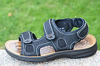 Босоножки, сандали на липучках мужские комфортные черные искусственная кожа (Код: Б682а)