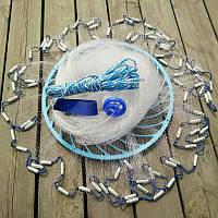 Кастинговая сеть Американка с кольцом ФРИСБИ диаметр 4,2 метра, высота 2 метра, леска яч. 12 мм