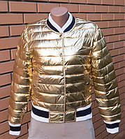 """Модная, женская, осенняя, стеганая куртка - бомбер """"Золото или серебро""""  РАЗНЫЕ ЦВЕТА Фабричный Китай"""
