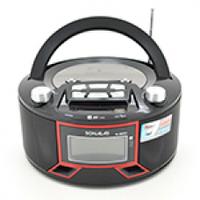 Радиоприемник SONALAS SL-663RQ, LED,2x3W, FM радио, Входы microSD, USB, AUX, корпус паласмасс, Black, BOX